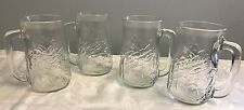 4 Bud Ice Embossed Molded Beer Mug Steins Vintage Barware Budweiser Freezer Lite