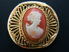 Vintage Shell Cameo Brooch Dress Scarf Clip Coat Sweater Pin Gold Tone 1.25""