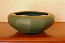 "Beautiful Vintage Early Brush-McCoy Pottery Colonial Mat Green 6"" Geometric Bowl"