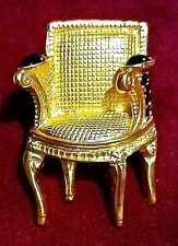 ~WOW! Auth Vintage Karl Lagerfeld CL Small Matte Gold Chair BROOCH PIN Signed