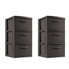 3 Drawer Storage Weave Cart -Set of 2 Espresso Plastic Storage Box Organizer NEW