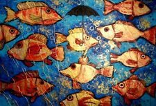 Neu! Unikat! 100cm x 70cm acrylic paint on canvas Goldene Fische MENSHYKOVA