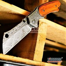 CAMPING HUNTING Spring Assisted Open Pocket Knife CLEAVER RAZOR DAMASCUS Blade