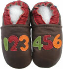 carozoo numbers dark brown 12-18m soft sole leather baby shoes