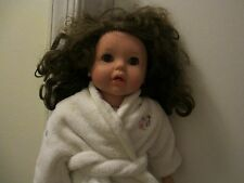 """EARLY 18"""" GOTZ SOFT-BODY DOLL CURLY BROWN HAIR & EYES w AMERICAN GIRL CLOTHES"""