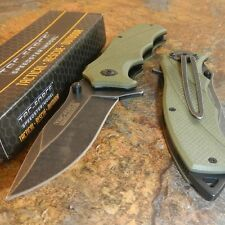TAC-FORCE ARMY GREEN G10 STONE WASHED Spring Assisted Open TACTICAL Pocket Knife