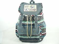 Tribal Printed Canvas Backpack SchoolBag SportingTravel Hiking Rucksack Gray