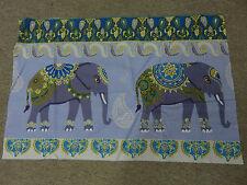 Indio Elefante Elefantes Azul y verde azulado, de oro gris remanente Tela Pieza 60x40cm