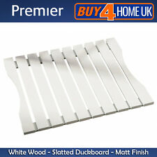 Premier Housewares White Wooden Slatted Duckboard Bathroom Shower Matt Finish