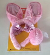 Bunny Rabbit Costume Kit Pink For Ages 3+ Halloween Headband, Bow & Tail NEW