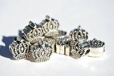 New Silver Metal Alloy 12 piece Crown Beads 12mm MB34072