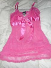 Fredericks of Hollywood Pink Sheer Lace Babydoll Lingerie Size Medium  Used