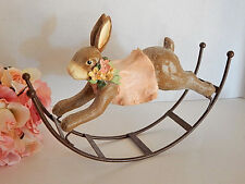 Rabbit Figurine Whimsical Brown Resin on Metal Rocker Bunny Patch Easter Decor
