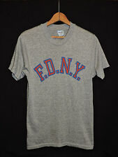 Vtg FDNY New York City Fire Department Tri-blend Rayon Heather Gray Thin T-shirt