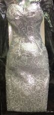 DRESSMAKER DETAILS COUTURE SILVER FLORAL PATTERN SHEATH WITH SHOES TAG NIP