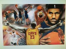 LEBRON JAMES COLLAGE PAINTING WINGS 24x36 poster CLEVELAND CAVALIERS AKRON OHIO!