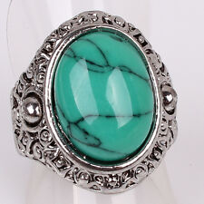 Women Mens Tibetan Silver US Size 6 Iron Line Oval Turquoise Ring Jewelry D871