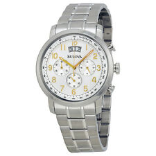 Bulova Dress Chronograph Silver Dial Stainless Steel Mens Watch 96B201