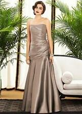 Dessy Collection  ~ Gold Satin Wrapped Bodice Flare Skirt Gown 10 NEW