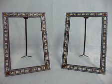 "PAIR EXTRA FINE ANTIQUE MICRO MOSAIC EASEL BACK FRAMES, 4-1/2"" x 6-1/2"", ITALIAN"