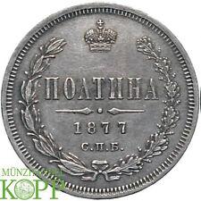 G771) RUSSLAND 1/2 Rubel (Poltina) 1877 Alexander II. 1855-1881