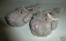 Girl's Fluffy Grey Dog Slippers- UK size 10/11- NEW