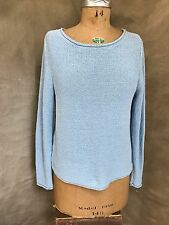 Eileen Fisher Light Baby Blue Cotton Pullover Sweater Rolled Hem M Inside Out