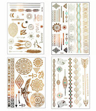 GOLD Tattoo Flash tatuaggi egizio Orient ornamenti Henna 80 parti Fenice Set A