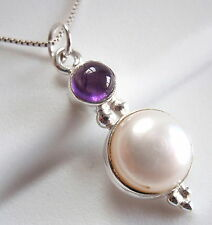 Purple Amethyst Cultured Pearl Necklace 925 Sterling Silver Double Gem Stone