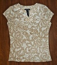 KENNETH COLE - TAN/WHITE WALLPAPER-PRINT MESH SS TOP - MISSES M