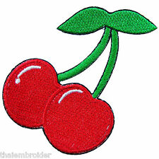 Red Cherry Cherries Fruit 70's Hippie Boho Tattoo Kids Iron-On Patches #A021