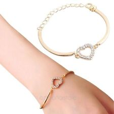 mujeres Amor del Corazón chapado en oro pulsera cristal brazalete mano cadena