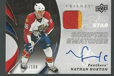 NATHAN HORTON 2008-09 Trilogy Scripted Swatches AUTO JERSEY #/100 2 Colors UD
