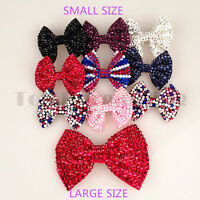 Girls Ladies Shining Brand New Diamante Crystal Bow Hair Clip Small&Large Size