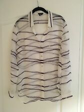 NWOT Theory White Lerea Purple Striped Silk Blouse, Size Large