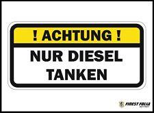 """""""! ACHTUNG ! NUR DIESEL TANKEN"""" Aufkleber Tankdeckel Warnung PKW Kraftstoff"""