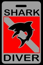 Gray Shark Diver w/ Silhouette SCUBA Diving Luggage/Gear Bag Tag - New
