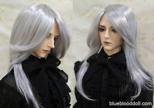 "1/3 bjd 8-9"" doll head silver color synthetic mohair wig dollfie luts iplehouse"