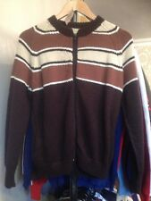"""Mens Vintage 1970s Zipped Acrylic Cardigan Brown Stripes 38"""" Hand Knitted T7"""