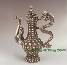 Chinoises Ancien Travail manuel Style Antique tibet argent Sculpté À La Main