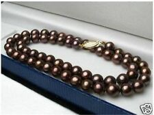 "Charming! 8mm Brown shell Pearl Jewelry Necklace 18"" AAA"