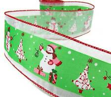 "5 Yd Christmas Snowman Decorating Tree Wired Ribbon 2 1/2""W"