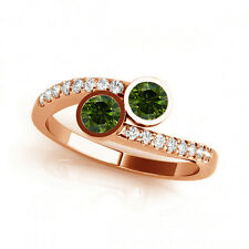 1.16 Cts Green VS2-SI1 2 Stone Diamond Solitaire Engagement Ring 14k Rose Gold