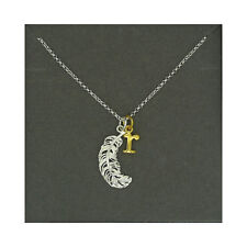 Lily Charmed NEW! Sterling Silver Large Feather & Gold Plated Initial R Necklace