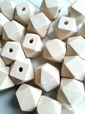 25 x Natural Geometric  Wood Wooden beads - 15 mm
