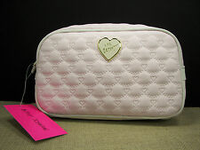 Betsey Johnson Be Mine Pink & Bone White Quilted Large Loaf Cosmetic Bag MSRP$48