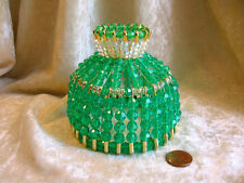 BEADED SHADE FOR WINDOW NIGHT LIGHT ELECTRIC CANDLE MINT GREEN