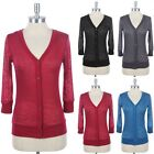 All Over Burnout 3/4 Sleeve V Neck Button Down Front Cardigan Ribbed Casual Easy