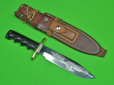 US Custom Hand Made RANDALL Engraved Fighting Hunting Knife & Sheath Stone