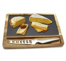 3 Piece Acacia Wood Natural Slate Food Cheese Board Plate Slicer Set X-Mas Gift